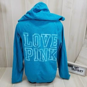 PINK Victoria's Secret Zip Hoodie Blue Medium